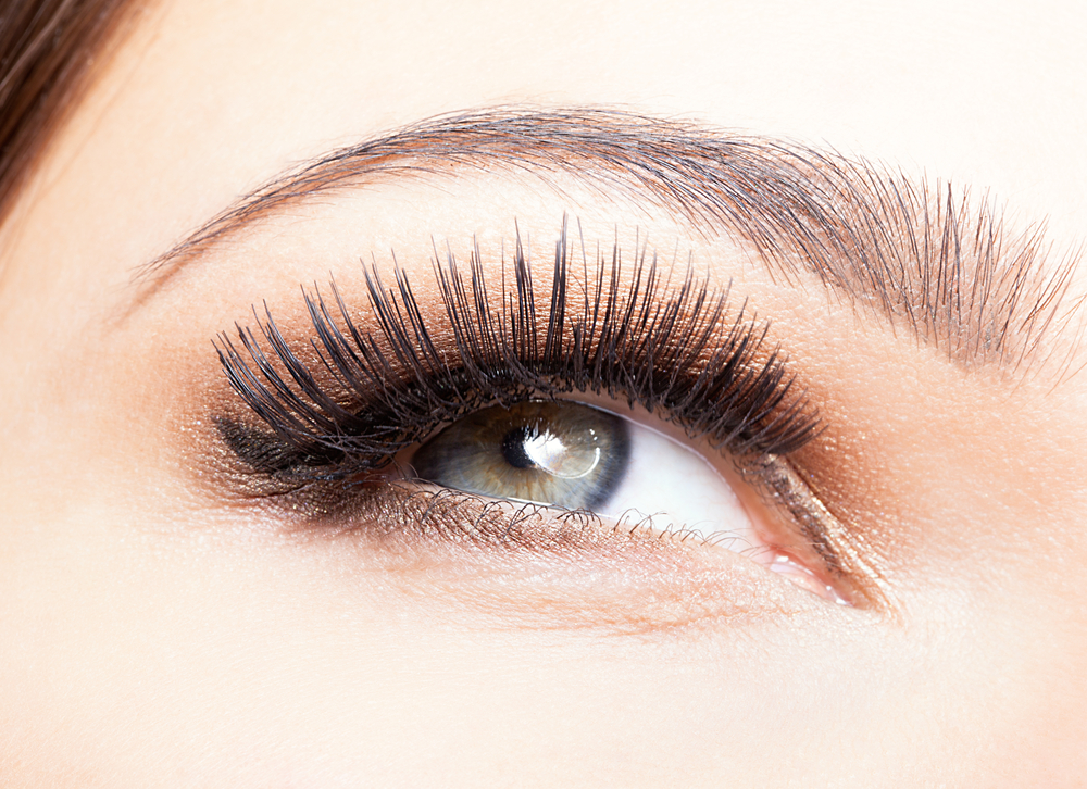 close up of woman's eye with long eyelashes